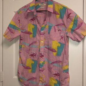 90s vibe Pink Flamingo Baby pink Button down